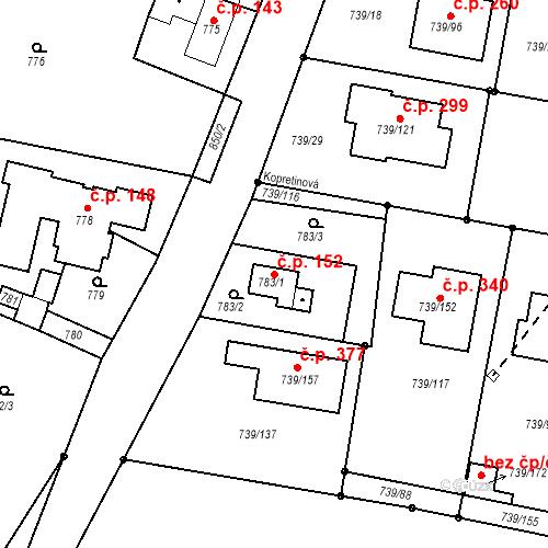 Katastrální mapa Stavební objekt Skorotice 152, Ústí nad Labem