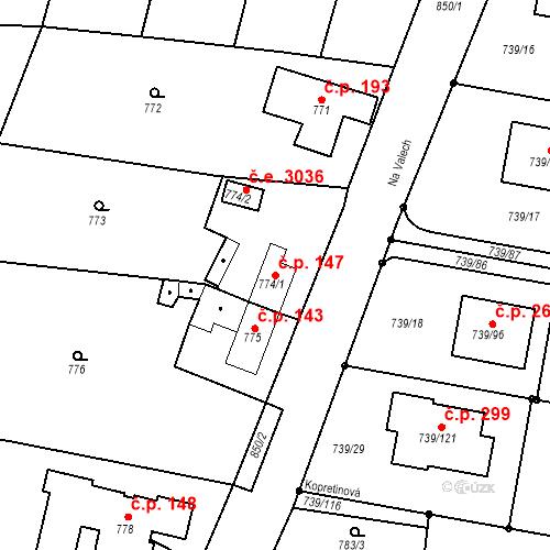 Katastrální mapa Stavební objekt Skorotice 147, Ústí nad Labem