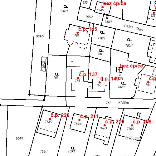 Katastrální mapa Stavební objekt Skorotice 137, Ústí nad Labem