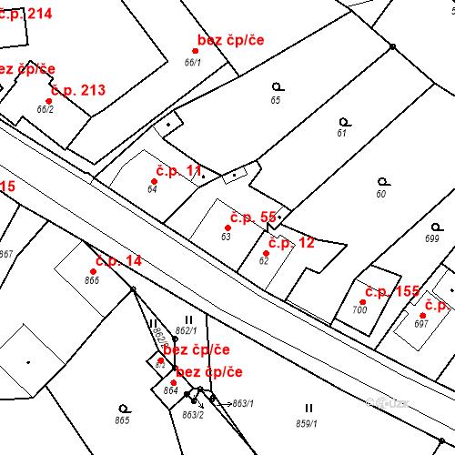 Katastrální mapa Stavební objekt Skorotice 55, Ústí nad Labem