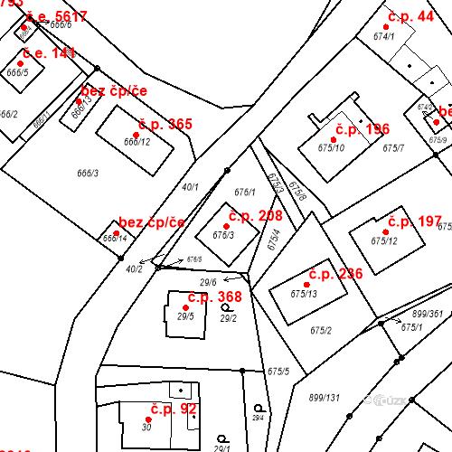 Katastrální mapa Stavební objekt Skorotice 208, Ústí nad Labem