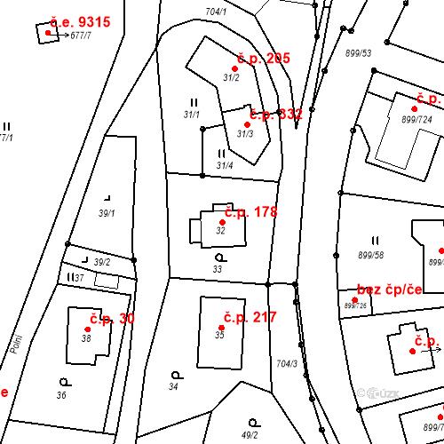 Katastrální mapa Stavební objekt Skorotice 178, Ústí nad Labem