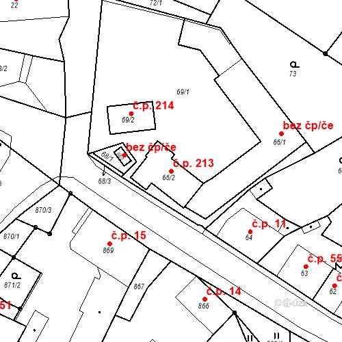 Katastrální mapa Stavební objekt Skorotice 213, Ústí nad Labem