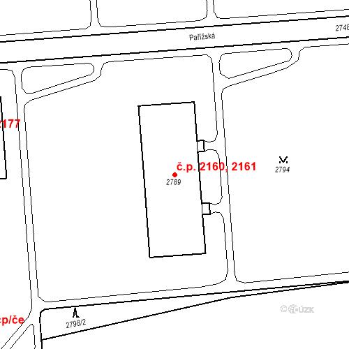 Katastrální mapa Stavební objekt Kročehlavy 2160, 2161, Kladno
