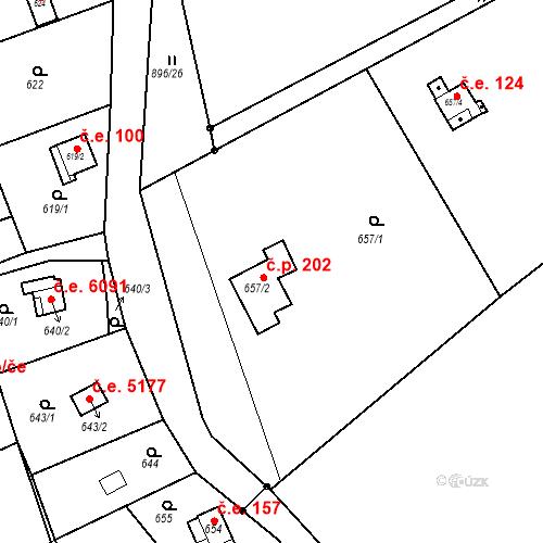 Katastrální mapa Stavební objekt Skorotice 202, Ústí nad Labem