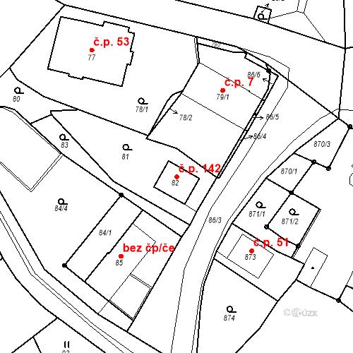 Katastrální mapa Stavební objekt Skorotice 142, Ústí nad Labem