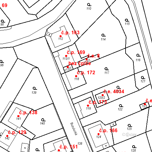 Katastrální mapa Stavební objekt Skorotice 172, Ústí nad Labem