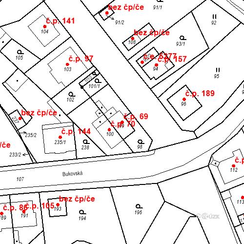 Katastrální mapa Stavební objekt Skorotice 69, Ústí nad Labem