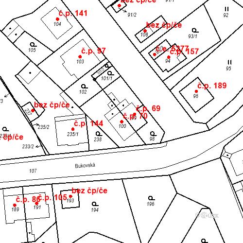 Katastrální mapa Stavební objekt Skorotice 70, Ústí nad Labem