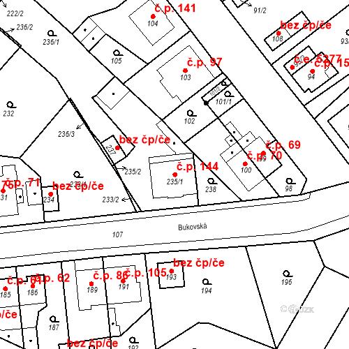 Katastrální mapa Stavební objekt Skorotice 144, Ústí nad Labem