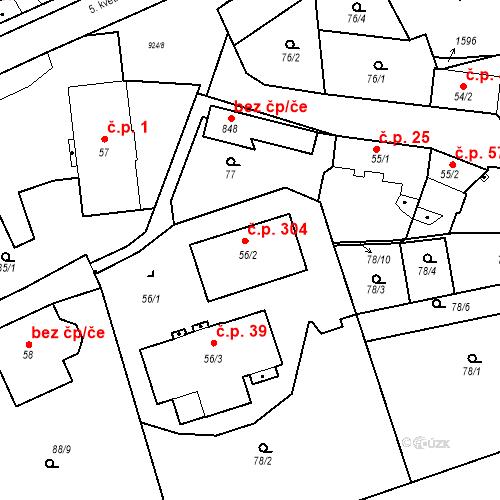 Katastrální mapa Stavební objekt Pchery 304, Pchery