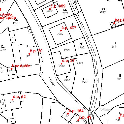 Katastrální mapa Stavební objekt Skorotice 37, Ústí nad Labem