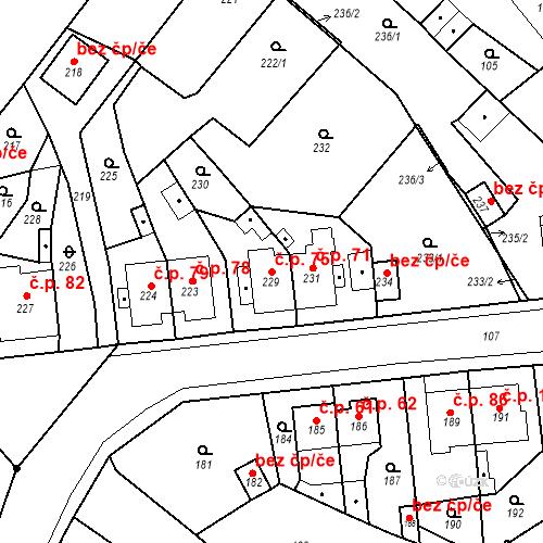 Katastrální mapa Stavební objekt Skorotice 75, Ústí nad Labem
