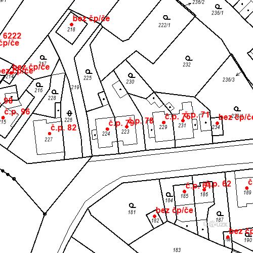 Katastrální mapa Stavební objekt Skorotice 78, Ústí nad Labem