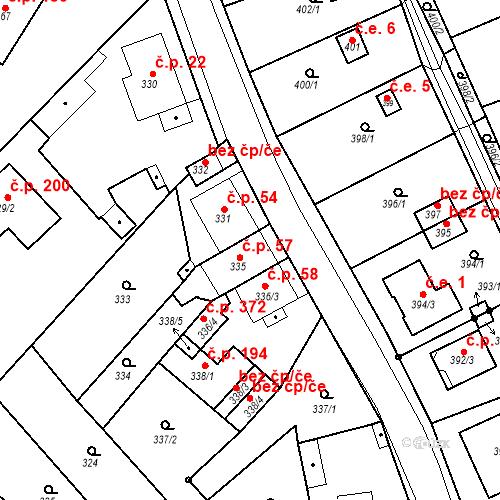 Katastrální mapa Stavební objekt Skorotice 57, Ústí nad Labem