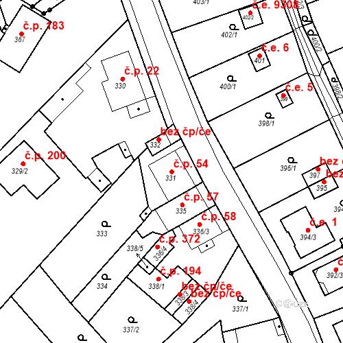 Katastrální mapa Stavební objekt Skorotice 54, Ústí nad Labem