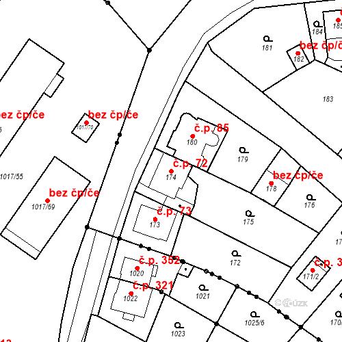 Katastrální mapa Stavební objekt Skorotice 72, Ústí nad Labem