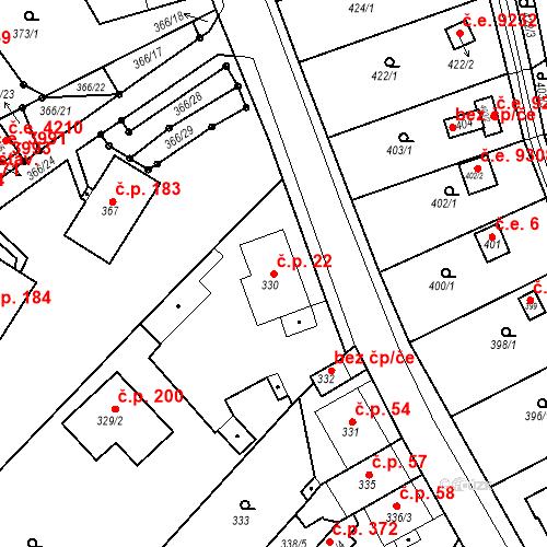 Katastrální mapa Stavební objekt Skorotice 22, Ústí nad Labem