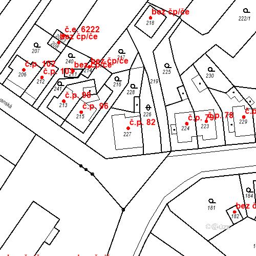 Katastrální mapa Stavební objekt Skorotice 82, Ústí nad Labem