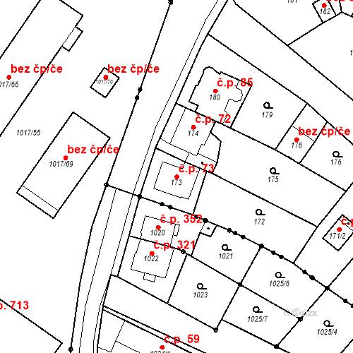 Katastrální mapa Stavební objekt Skorotice 73, Ústí nad Labem