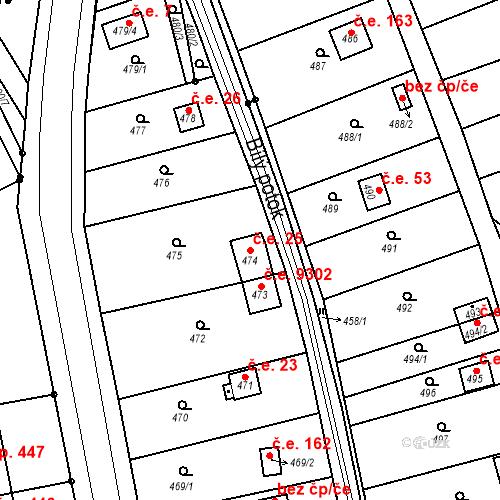 Katastrální mapa Stavební objekt Skorotice 25, Ústí nad Labem