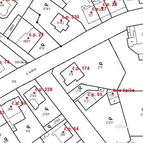 Katastrální mapa Stavební objekt Skorotice 174, Ústí nad Labem