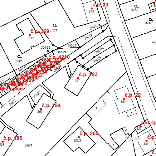 Katastrální mapa Stavební objekt Skorotice 183, Ústí nad Labem