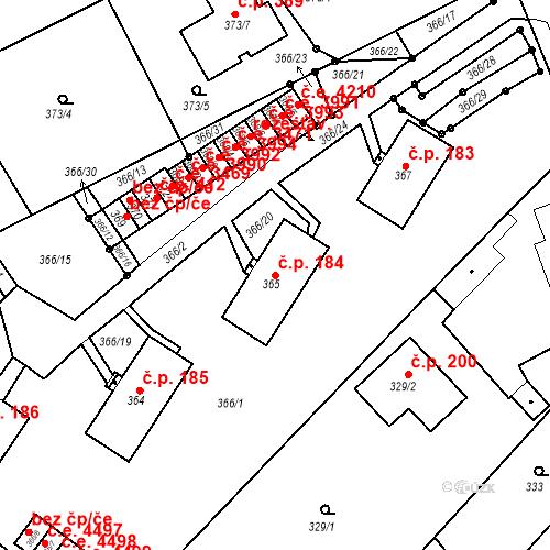Katastrální mapa Stavební objekt Skorotice 184, Ústí nad Labem