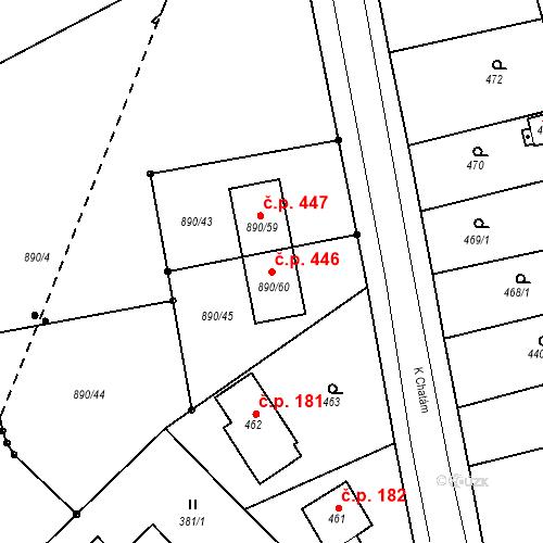 Katastrální mapa Stavební objekt Skorotice 446, Ústí nad Labem