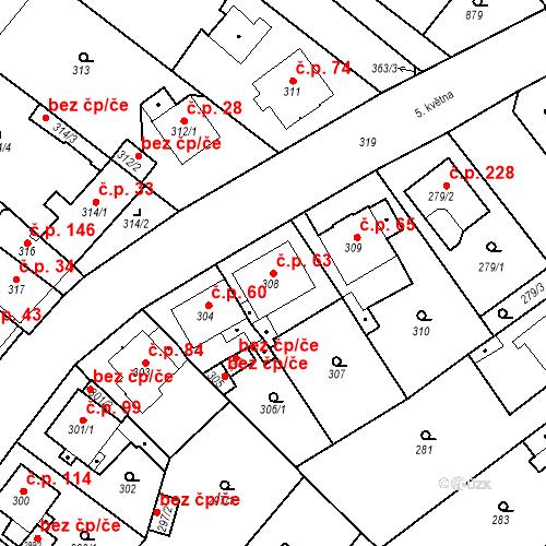 Katastrální mapa Stavební objekt Skorotice 63, Ústí nad Labem
