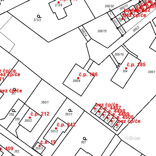 Katastrální mapa Stavební objekt Skorotice 186, Ústí nad Labem
