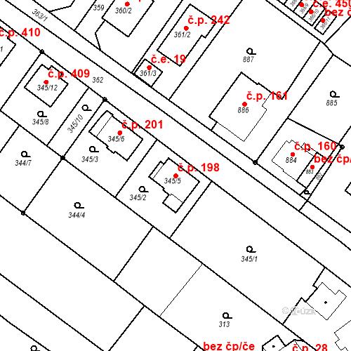 Katastrální mapa Stavební objekt Skorotice 198, Ústí nad Labem