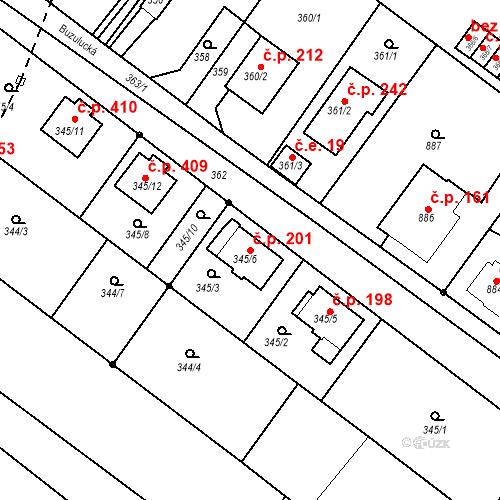 Katastrální mapa Stavební objekt Skorotice 201, Ústí nad Labem