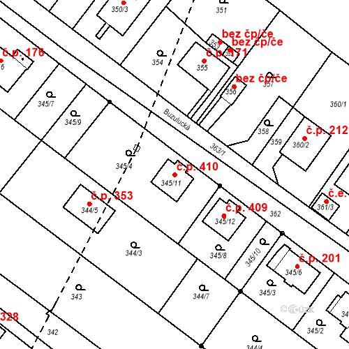 Katastrální mapa Stavební objekt Skorotice 410, Ústí nad Labem