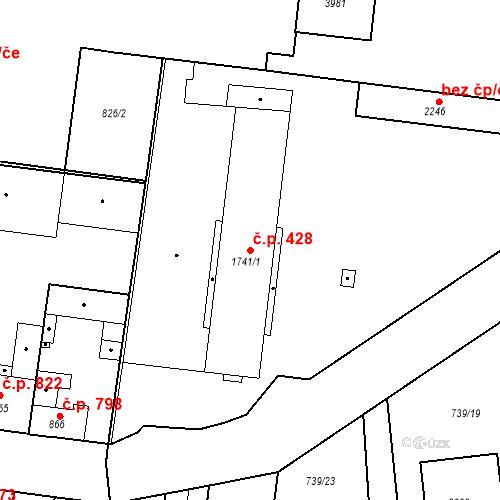 Katastrální mapa Stavební objekt Slaný 428, Slaný