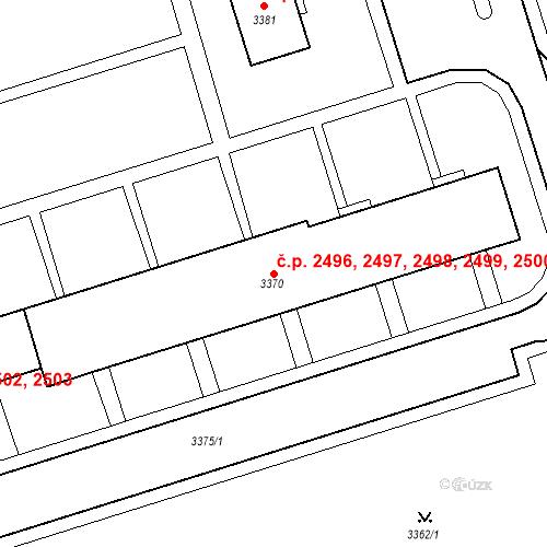 Katastrální mapa Stavební objekt Kročehlavy 2496, 2497, 2498, 2499, 2500, Kladno