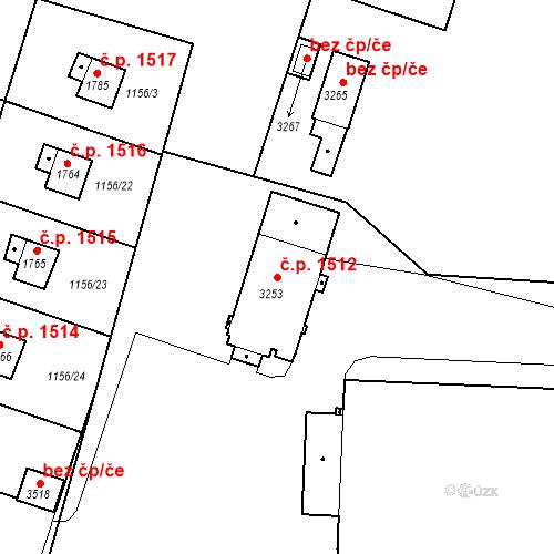 Katastrální mapa Stavební objekt Slaný 1512, Slaný