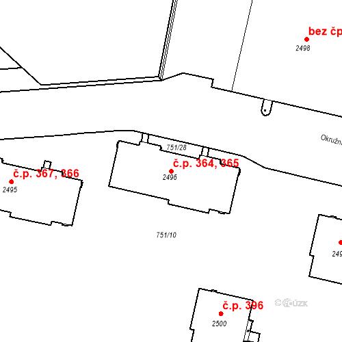Katastrální mapa Stavební objekt Slaný 364, 365, Slaný