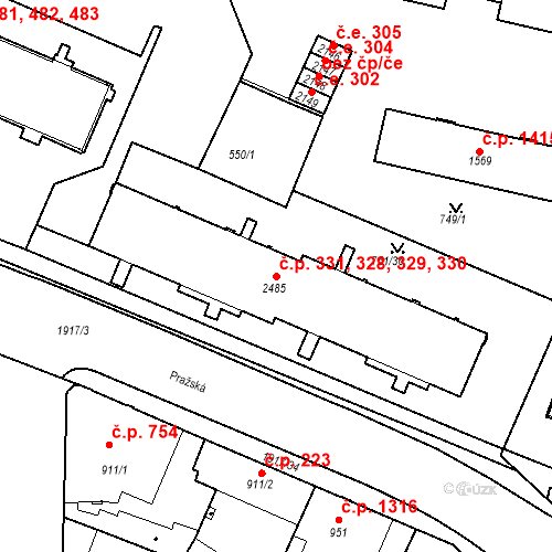 Katastrální mapa Stavební objekt Slaný 328, 329, 330, 331, Slaný