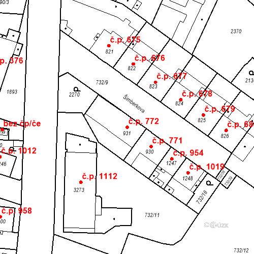 Katastrální mapa Stavební objekt Slaný 772, Slaný