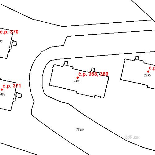 Katastrální mapa Stavební objekt Slaný 368, 369, Slaný