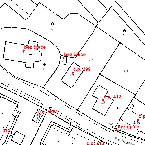 Katastrální mapa Stavební objekt Všebořice 399, Ústí nad Labem