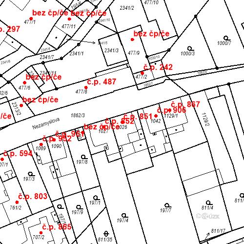 Katastrální mapa Stavební objekt Slaný 851, Slaný