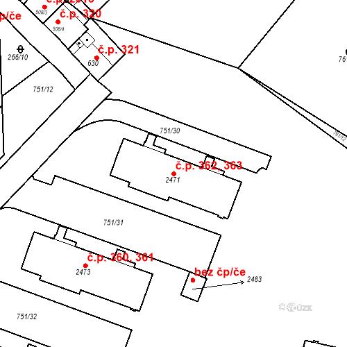 Katastrální mapa Stavební objekt Slaný 362, 363, Slaný