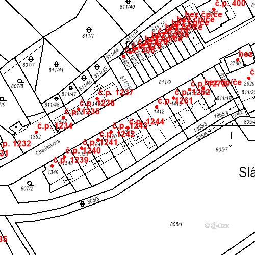 Katastrální mapa Stavební objekt Slaný 1244, Slaný