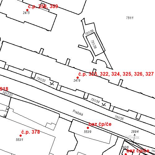 Katastrální mapa Stavební objekt Slaný 322, 323, 324, 325, 326, Slaný