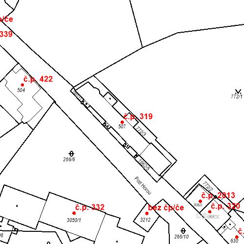 Katastrální mapa Stavební objekt Slaný 319, Slaný
