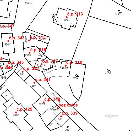 Katastrální mapa Stavební objekt Slaný 318, Slaný