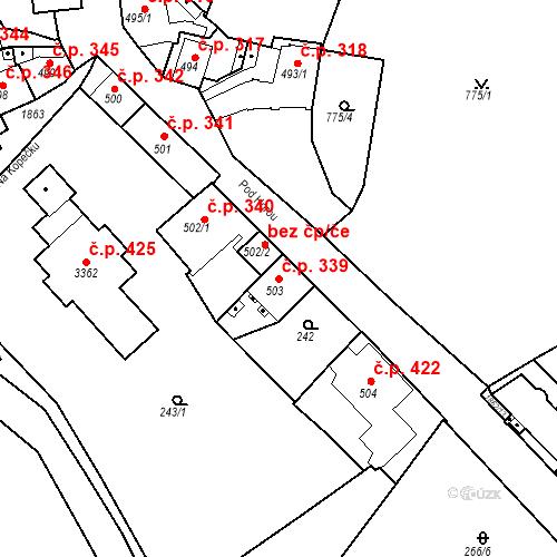 Katastrální mapa Stavební objekt Slaný 339, Slaný