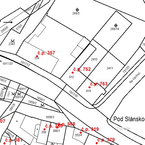 Katastrální mapa Stavební objekt Slaný 752, Slaný